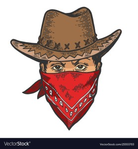 Cowboy head bandit mask bandana sketch engraving